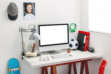 Desk in a child's bedroom.