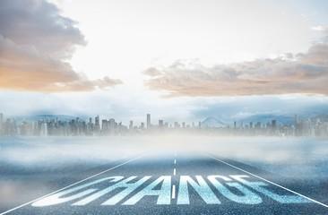 Change against large city on the horizon