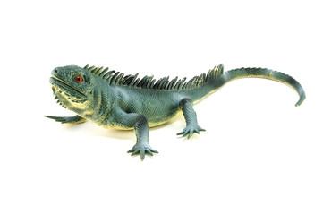Iguana lizard  toy on white
