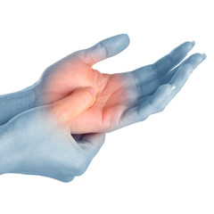 Female holding hand to spot of wrist pain.