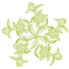 Green wreath of flowers. Floral pattern. Vector art