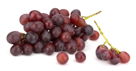 Red grape bunch isolated on white background