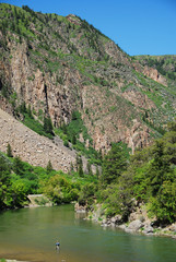 Wall Mural - Angler in Gunnison river (Black Canyon of the Gunnison NP), CO