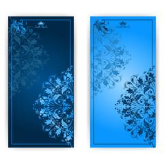 Vector invitation card with blue ornament