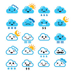 Cute cloud - Kawaii, Manga icons with different expressions