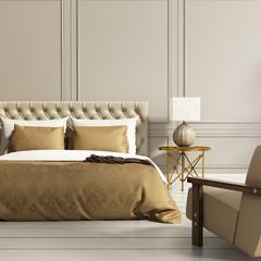 Contemporary elegant luxury gold and grey bedroom