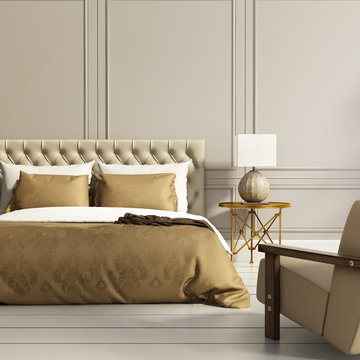 Contemporary elegant luxury gold and grey bedroom