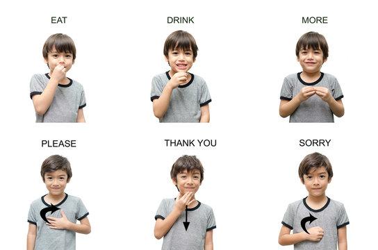 kid hand sign language on white background