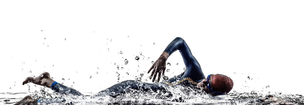 man triathlon iron man athlete swimmers swimming
