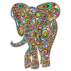 Canvas Prints Draw Elephant Psychedelic Pop Art Design on White