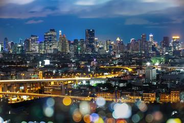 Bangkok Cityscape at twilight, Impression of City's Light (Thail