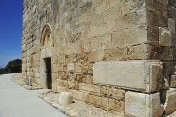 Massive stone wall of the fortress at Zippori, Israel