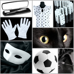 Collage of photos in white and black colors