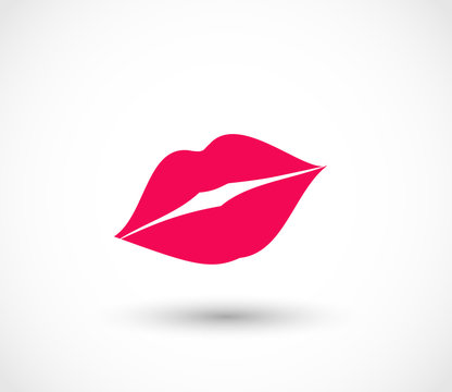 Sexy red lips vector icon