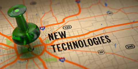New Technologies - Green Pushpin on a Map Background.
