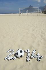 Soccer 2014 Message on Brazil Beach