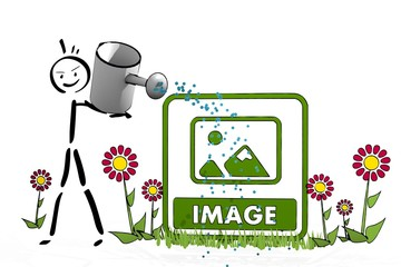 stick man watering a image