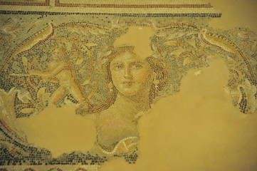 """Mona Lisa of the Galilee"" - mosaic floor in Tzippori, Israel"
