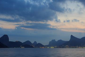 Mountains of Rio de Janeiro night view from Niteroi