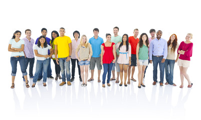 Large group of multiethnic young people