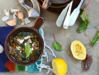 lentil and mangold soup with lemon