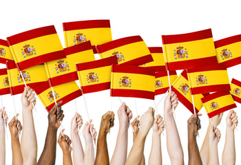 Human Hands Holding Flag of Spain