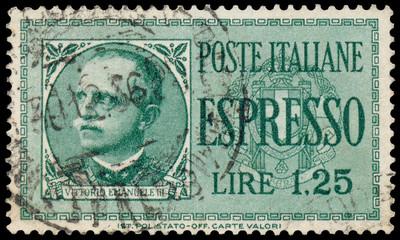 Stamp shows a Portrait of Victor Emmanuel III