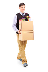Man walking with moving boxes