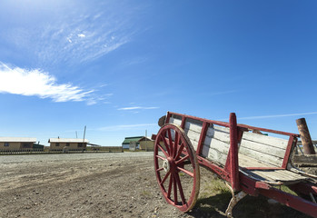 Old cart left on deserted road in Patagonia.