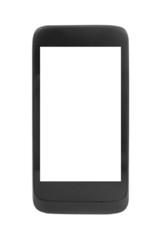 Modern black smartphone, isolated on white.
