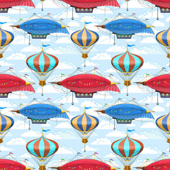 Seamless pattern with dirigibles and air balloons in the sky