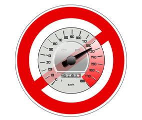 Tachometer mit Verbotsschild