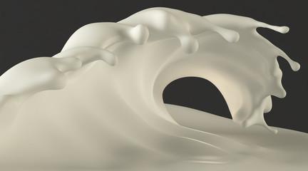 Surfing style milk cream wave. Isolated on dark grey