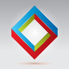 RGB impossible figure, vector rhombus, abstract vector objects
