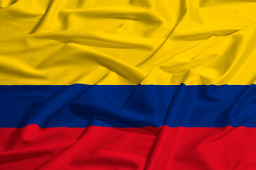Colombia flag on a silk drape