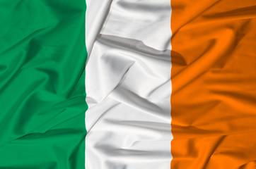 Ireland flag on a silk drape