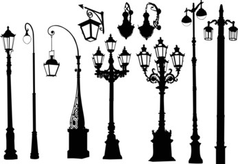 decorated ten isolated street lamps