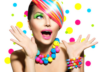 Beauty Portrait with Colorful Makeup Manicure and Hairstyle