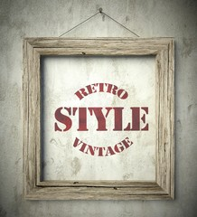 Retro style vintage emblem in old wooden frame