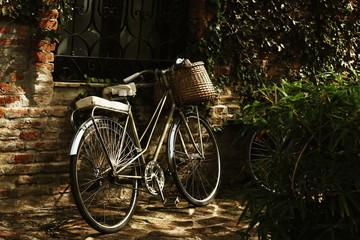 bike with a wicker basket