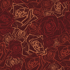 Seamless floral pattern with of roses. Vector illustration.