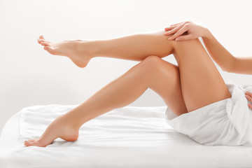 Long Woman Legs isolated on white. Depilation