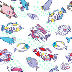 White Seamless pattern  with color fishes