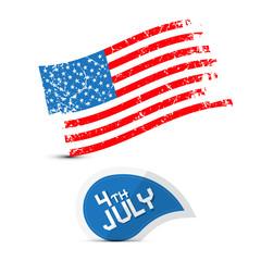 Vector American Flag - Dirty, Grunge - 4th July Symbol