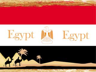 camel caravan in wild africa - flag of egypt,abstract grunge fra