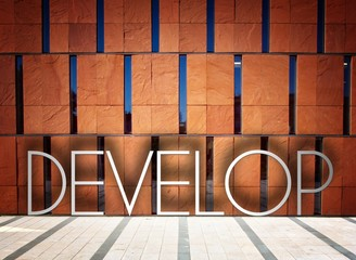 Develop on modern building creative illustration