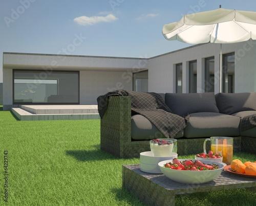 garden and modern bungalow stockfotos und lizenzfreie bilder auf bild 64229743. Black Bedroom Furniture Sets. Home Design Ideas
