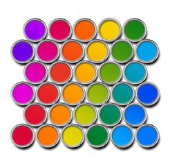 Paint cans color spectrum