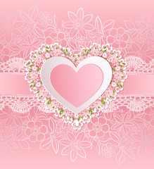 Greeting card with heart shape. Valentine's day background.
