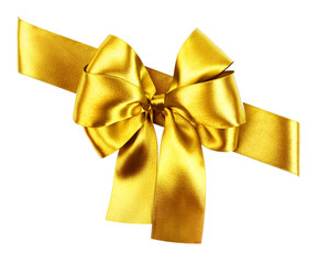 golden bow made from silk ribbon